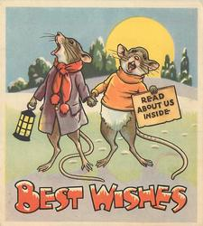 BEST WISHES dressed mouse couple holds hands, male mouse holds sign reading READ ABOUT US INSIDE, setting sun behind