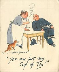 YOU ARE JUST MY CUP OF TEA! maid offers steaming cup of tea to officer, cat left