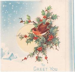 TO GREET YOU robin & holly right of perforated window, light blue background with cabin in snow, glitter