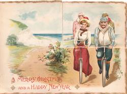 A MERRY CHRISTMAS AND A HAPPY NEW YEAR,  embossed, 4 people cycle front