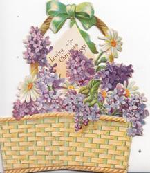 LOVING CHRISTMAS GREETINGS on white plaque in top of cut-outwicker basket of violets & 3 daisies,  embossed