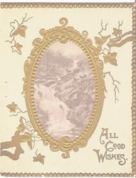 ALL GOOD WISHES in gilt, gilt ivy surrounds inset of deer in rural scene