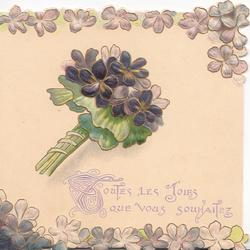TOUTES LAS JOIES QUE VOUS SOUHAITS (illuminated letters) in purple, violets above & below