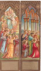 panels show colourful Religious procession left, prayer with people looking right, similar but different to other card