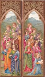 panels show outdoor colourful Religious procession left, & right , hills & sky behind