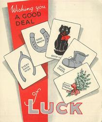 WISHING YOU A GOOD DEAL OF LUCK 4 oblong insets with good luck symbols
