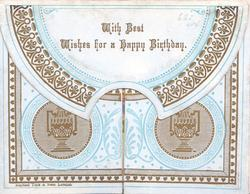 WITH BEST WISHES FOR A HAPPY BIRTHDAY, much brown, blue & white design all over