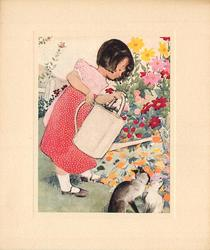 no front title, young girl, faces right, watering flower garden with large white watering can, 2 cats right