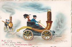 PUFF ALONG YOUR MERRY WAY ON THIS JOLLY CHRISTMAS DAY fantasy car made from a pipe driven another follows