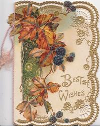 BEST WISHES in gilt, blackberries & bronzed leaves over complex gilt & white design