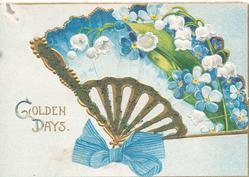 GOLDEN DAYS lilies-of-the-valley & forget-me-nots in gilt fan shaped design with blue bow at base