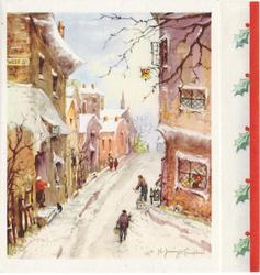 no front title, village street in winter, panel with 5 holly sprigs & red border right