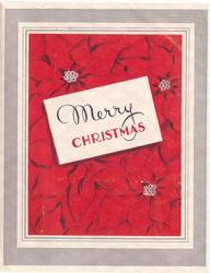 MERRY CHRISTMAS on white over red poinsettias, grey & white borders