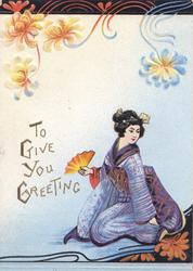 TO GIVE YOU GREETING in gilt, Japanese girl in purple sits on her heels holding fan, stylised flowers above