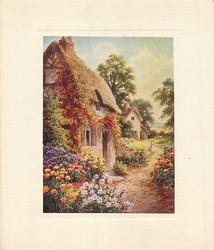 no front title, floral garden front of cottage, girl, in distance, walks forward along path carrying pail, sheep behind