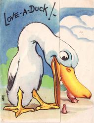 LOVE - A - DUCK! -- large white duck  reaches for worm in ground