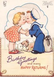 BIRTHDAY GREETINGS AND MANY HAPPY RETURNS! young girl kisses young boy in naval uniform, puppies behind