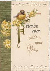 FRIENDS EVER GLADDEN YOUR WAY(Filluminated) below primroses & bluebird-of-happiness, perforated top & bottom white designs