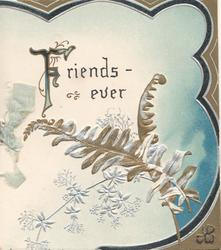FRIENDS-EVER(F illuminated), ferns & stylised flowers below,  blue, black & brown marginal designs