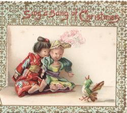 SING A SONG OF CHRISTMAS bordered inset of 2 humanised Japanese dolls looking at bird