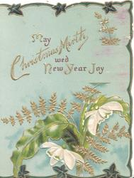 MAY CHRISTMAS MIRTH WED NEW YEAR JOY above fern & 2 snowdrops, stylised ivy at edges, blue background