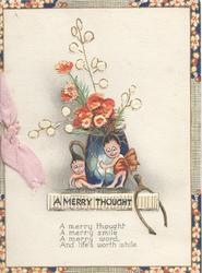A MERRY THOUGHT on plaque below 2 fairies at base of blue mug of stylised flowers, wishbone, narrow marginal floral designs