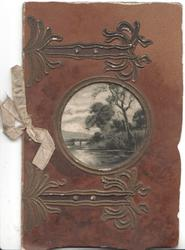 no front title, circular rural inset, gilt design to give shape of a book, deep purple background