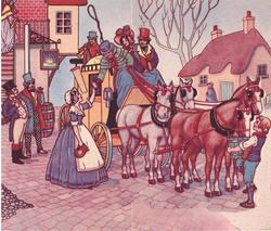 townsfolk tend to coachmen & horses of stopped coach, inn & cottage in background