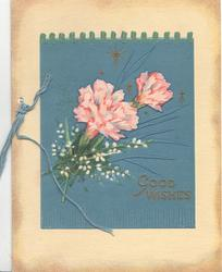 GOOD WISHES in gilt, pink carnations & white heather on blue leather-like plaque