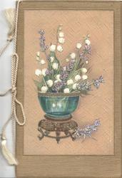 no front title, bowl of lilies-of-the-valley & purple heather on framed faux brown leather plaque