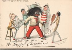 """GOLLIWOGG"" IN FANCY DRESS    opt. WISHING YOU A HAPPY CHRISTMAS"