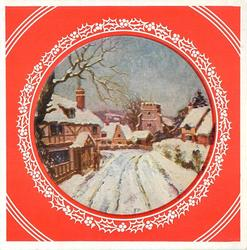 circular inset with holly border on red background, town entrance in winter, prominent snowy road