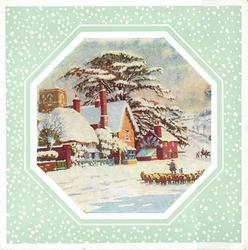 octagonal inset with snow-like dots on pale green or grey background, shepherd with flock in snow, houses behind