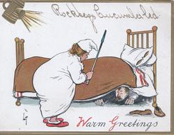 WARM GREETINGS (W & G illuminated),  husband under the bed threatened by wife waving a poker