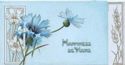 HAPPINESS BE YOURS in gilt below/right, blue cornflowers, stylised lateral barley & floral designs, blue background