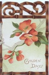 GOLDEN DAYS in gilt below red apple blossom, bamboo frame & perforated top design, yellow background