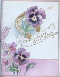 GOOD LUCK AND GOOD WISHES in gilt on white plaque, 3 purple pansies, purple design below