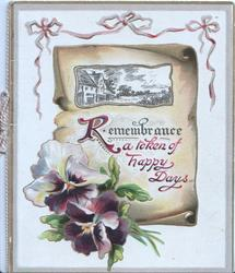 REMEMBRANCE A TOKEN OF HAPPY DAYS (R illuminated) on pale brown plaque with rural inset above purple pansies