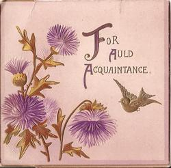 FOR AULD ACQUANTAINCE gilt bird in flight beside stylised purple flowers
