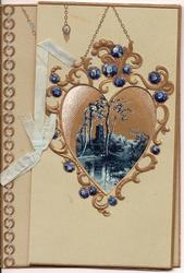 no front title, inset of water scene  surrounded by stylised gilt and blue gems