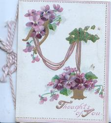 THOUGHTS OF YOU in purple below purple pansies suspende in gilt  basket by gilt ribbon