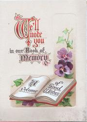 WE'LL NOTE YOU in red IN OUR BOOK OF MEMORY   A VOLUME OF GOOD WISHES purple pansies right