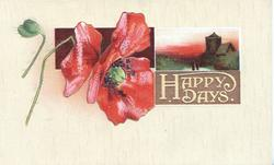 HAPPY DAYS in white on brown plaque beside red poppy & beside rural inset, yellow background