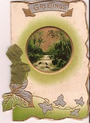 GREETINGS inset of nature scene, gilt ivy below