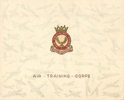 AIR TRAINING CORPS in red below gilt embossed & red crest & motto, watermarked airplanes on card stock
