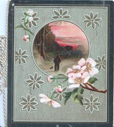 no front title, pink wild roses below circular rural inset in green leafy designed background, dark brown marginal stripe