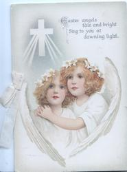 EASTER ANGELS FAIR AND BRIGHT SING TO YOU AT DAWNING LIGHT. 2 red-headed angels cuddle as they look up & left