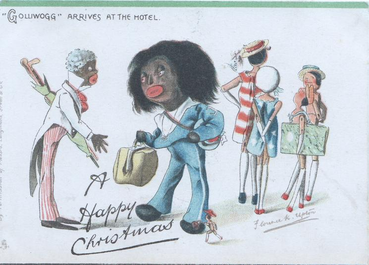 """GOLLIWOGG"" ARRIVES AT THE HOTEL   opt. A HAPPY CHRISTMAS"