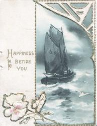 HAPPINESS BETIDE YOU in gilt beside glittered border round seascape of boat with 2 sails, wild rose below