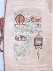 MAY TIME SHAPE HAPPY DAYS FOR YOU(illuminated) in blue design, clock below